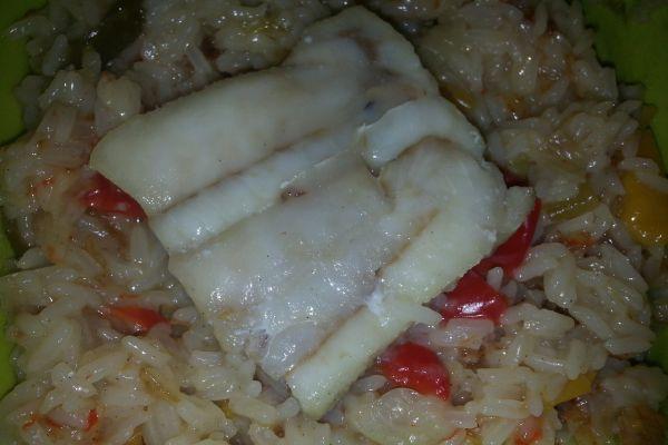 Recette Pavé de colin, poivrons et riz au COOKEO