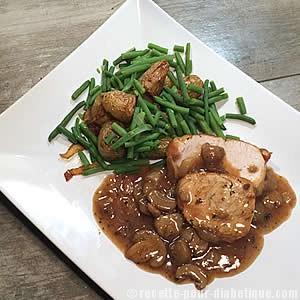 Recette Rôti de dinde aux champignons et sa sauce au vinaigre balsamiqu