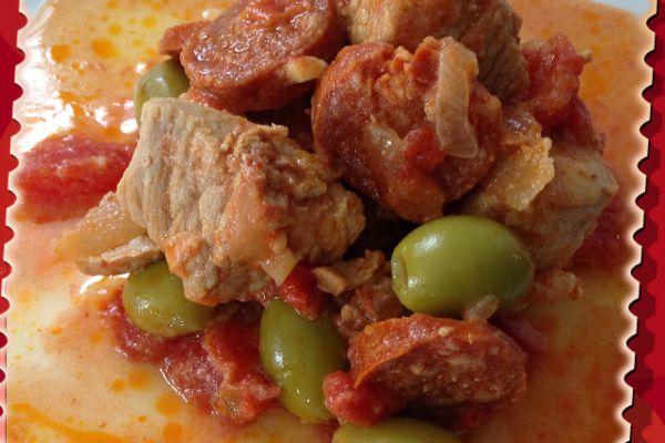 Recette Sauté de porc aux olives et au chorizo