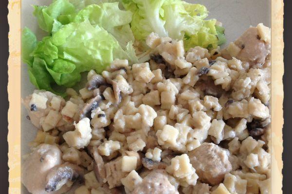 Recette Poêlée de crozets au champignons et au poulet