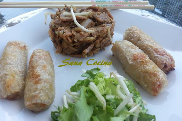 Recette Veau sauté, nems et petite salade aux pousses de soja!