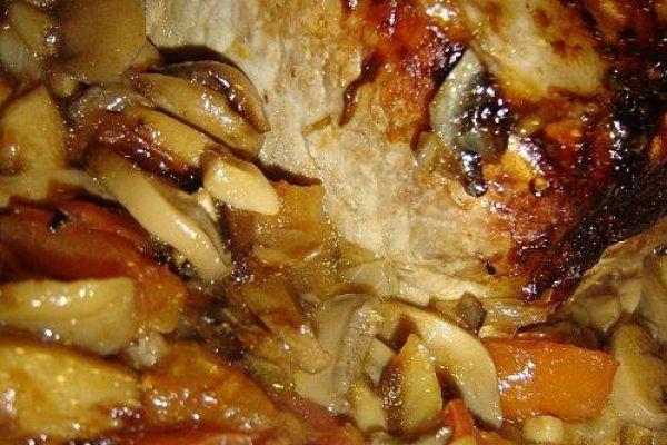 Recette Roti porc champignons au four