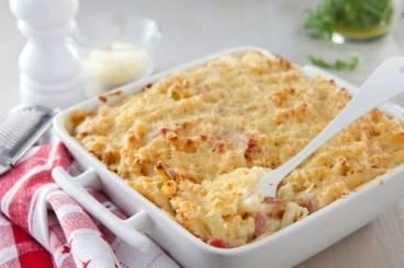 Recette Gratin de pâtes au jambon et au fromage
