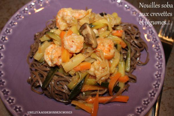 Recette Nouilles soba aux crevettes et légumes.